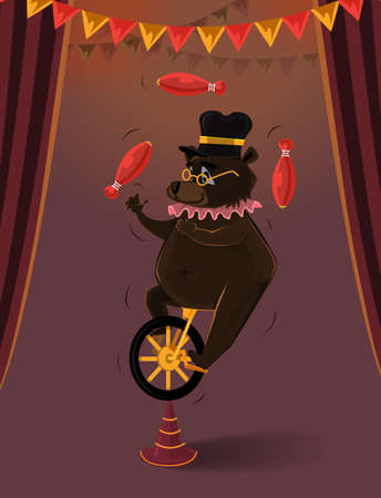 Bear Illustration in circus play on a wheel bike Vector