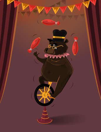 circus bike: Ilustraci�n del oso en el juego de circo en una bicicleta de rueda Vectores