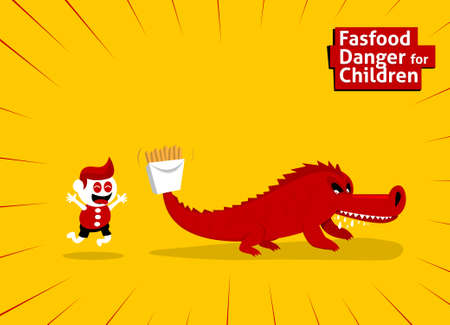 no cholesterol: Fastfood danger for children with animal trap to eating Illustration