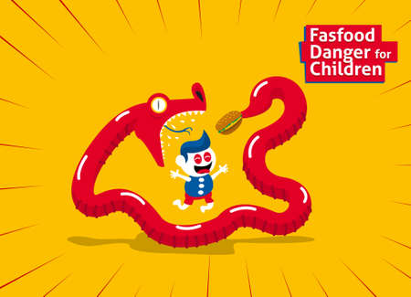 animal trap: Fastfood danger for children with animal trap to eating Illustration