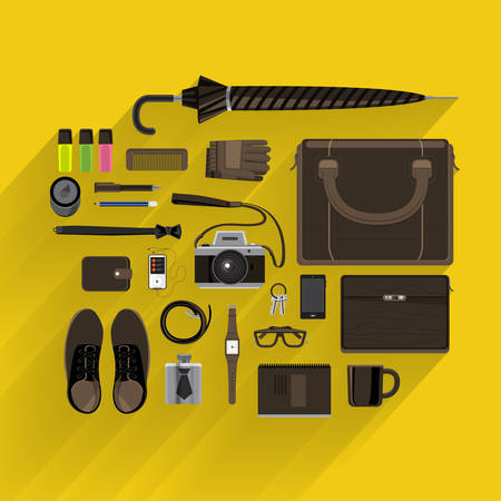 Item lifestyle and marketing on top view by vector platform flat design and longshadow