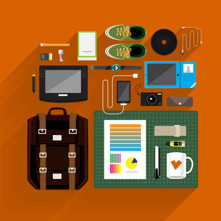 Item lifestyle and marketing on top view by vector platform flat design and longshadow Vector