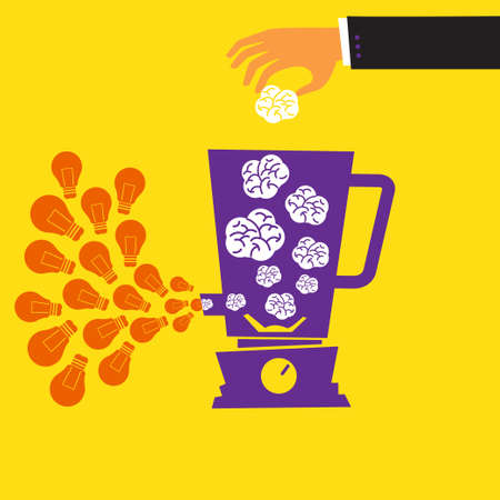 Vector idea create process of success about money creative brain and mix marketing