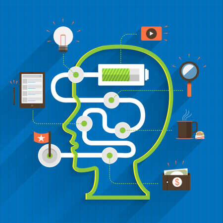 Poer of brain inside thinking about digital marketing Vector