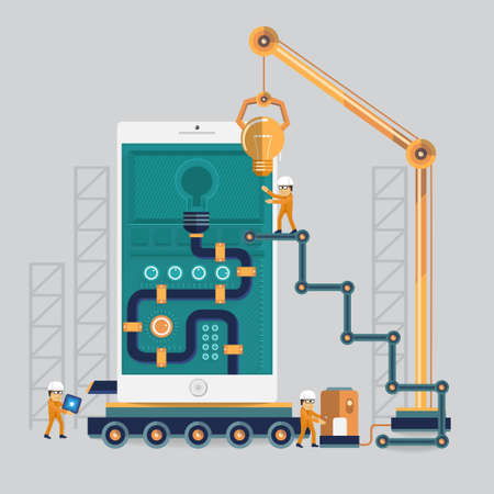 network engineer: Mobile engineering to success by power with idea energy process Illustration