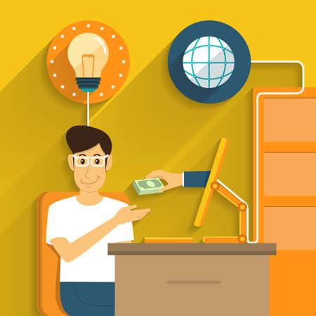 Idea de cambio de dinero de la comercialización en línea Ilustración de vector
