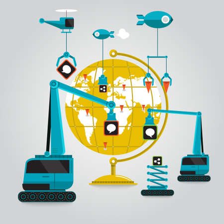 construction crane: communication online business to globe aroun the world with connection Illustration