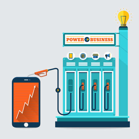 electric charge: Power business station service of energy marketing solution for success on smartphone Illustration