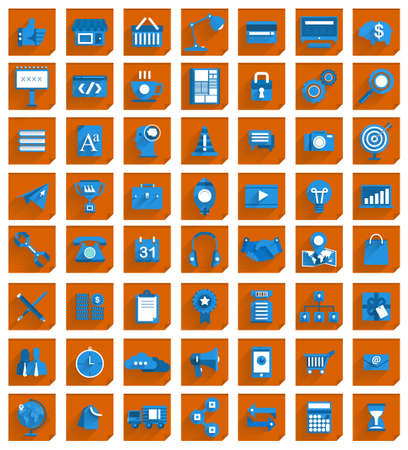 social security: 56 Icons Set for business in colour modern design  Illustration