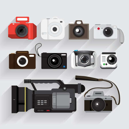color digital camera: Icons set camera and video recorder vector  style