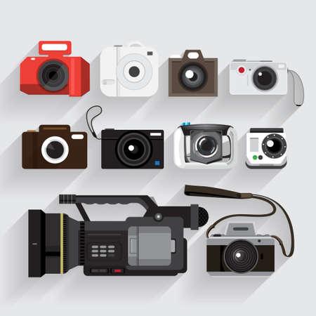 Icons set camera en video recorder vector stijl Stock Illustratie