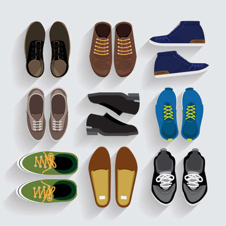 Schoenen pictogrammen instellen platte ontwerp vector stijl Stock Illustratie