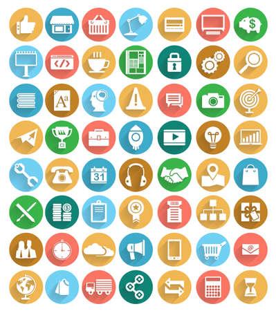 seguridad social: 56 Conjunto de iconos para los negocios en el color de diseño moderno