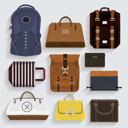 satchel: Icons bagsleather , fabric, folder in vector style