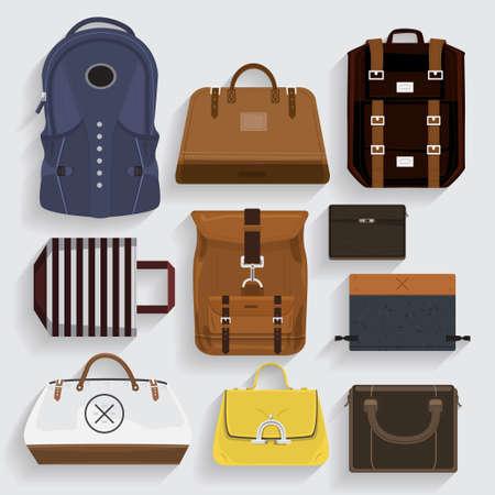Icons bagsleather, Stoff, Stil-Ordner in Vektor Standard-Bild - 30225431