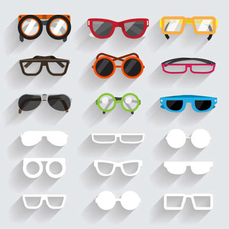 eye wear: Eyeglass vecter set icons and white material ling sghadow