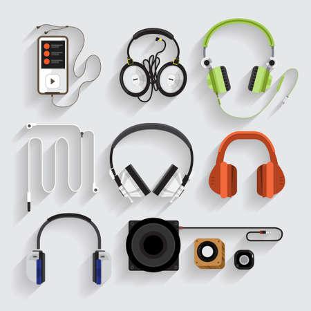 digital music: Icons headphones ,speaker, mp3 player Illustration