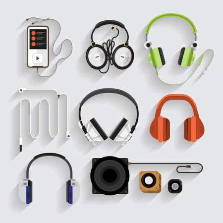 Icons headphones ,speaker, mp3 player Illustration