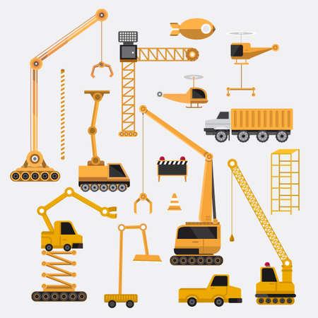 truck crane: construction vector set