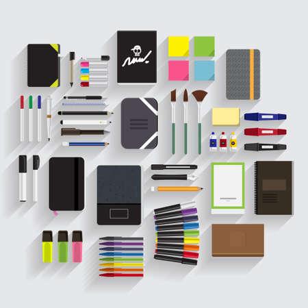 sketch book: Pen, Pencill, Sketch Book, Drawing Element item vector set