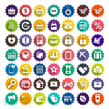 mujer en el supermercado: Compras iconos conjunto de vectores Vectores