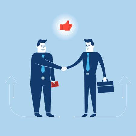 Businessmans agree big deal shake hand Illustration