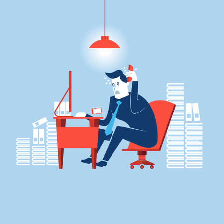 hard: Busy time of businessman in hard working Illustration
