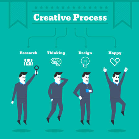 Creative Process to Success of Businessman Vector