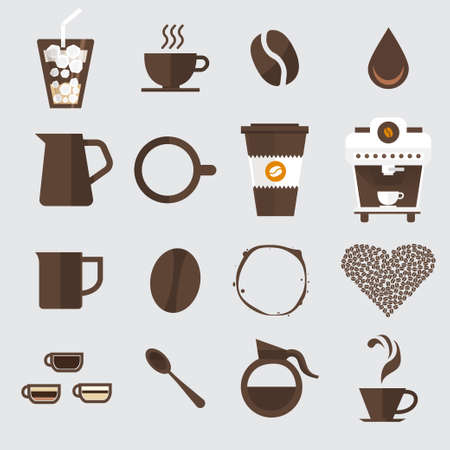coffee: Coffee icon set vector.