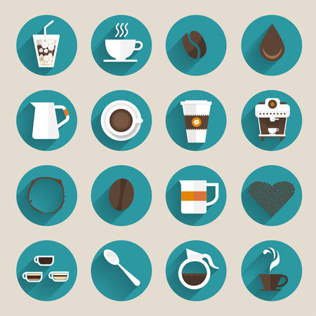 cafe latte: Coffee icon set vector.