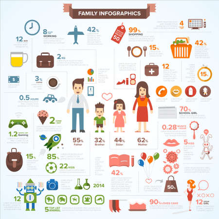 dad daughter: Family vector set infographics.