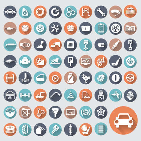 car care center: Car auto service icons set. Illustration