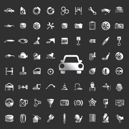 car care center: Car auto service icons set. Illustration