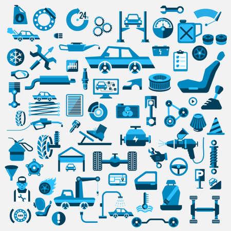 auto service: Car auto service set illustrate