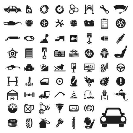 piezas coche: Iconos de auto servicio de coches establecen. Vectores