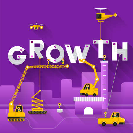 Engineering building text Growth. Vector Illustrate Иллюстрация