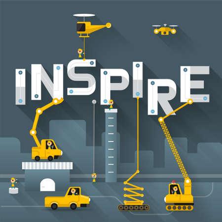 inspiring: Engineering building text Inspire. Vector Illustrate