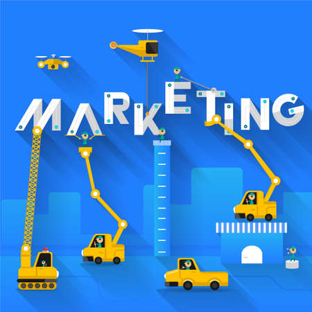 Construction site crane building Marketing text, Vector illustration template design