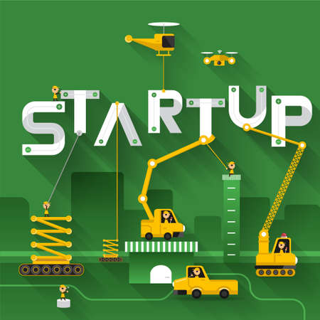 Construction site crane building Startup text, Vector illustration template design