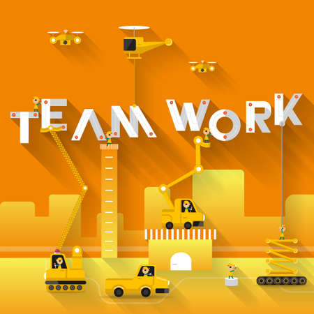 building site: Construction site crane building Teamwork text, Vector illustration template design Illustration