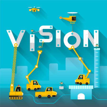 future vision: Obras de construcci�n de la gr�a texto edificio Vision, dise�o Ilustraci�n vectorial de plantilla