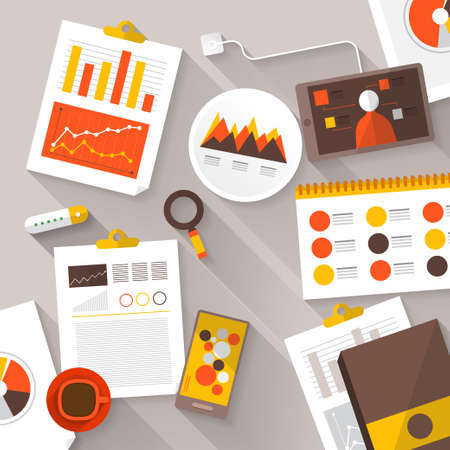 personal information: Flat vector illustration of web analytics information and development website statistic - vector illustration