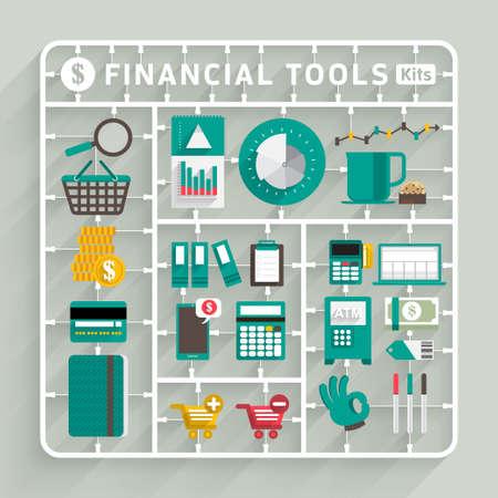 금융 도구 벡터 평면 설계 모델 키트. 성공 창의적 사고에 사용하기위한 요소