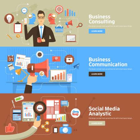 비즈니스 컨설팅, 커뮤니케이션, 소셜 미디어 Analystic 플랫 디자인 개념. 웹 배너 및 홍보 자료에 대한 개념입니다.