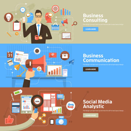 Platte design concepten voor Business Consulting, Communicatie, Social Media Analystic. Concepten voor web banners en promotiemateriaal. Stock Illustratie