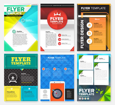 blank magazine: Set of Flyer, Brochure Design Templates. Geometric Triangular Abstract Modern Backgrounds. Mobile Technologies, Applications and Online Services Infographic Concept. Illustration