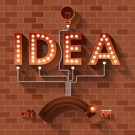 pensamiento creativo: IDEA Texto luz de la bola en el fondo de ladrillo.