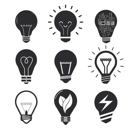 simple logo: Set vector light bulb for creative layout design