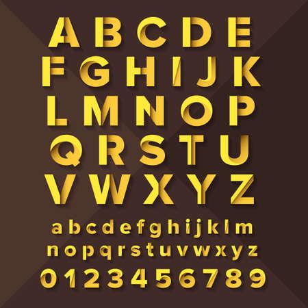 Vector Alphabet Set Gold on brown background. Illustration
