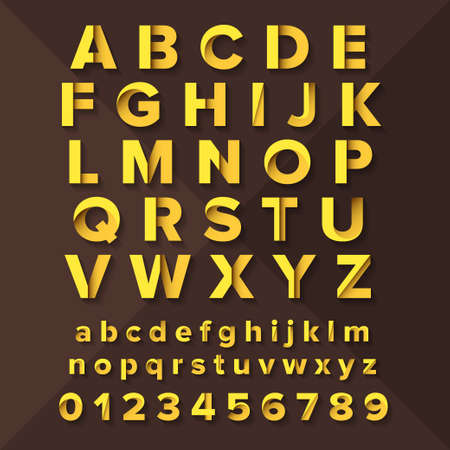 gold brown: Vector Alphabet Set Gold on brown background. Illustration